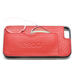 CUSTODIA-COVER  IPHONE 5  IN PELLE ROSSA-RED CON OCCHIALI VICINO +3.00